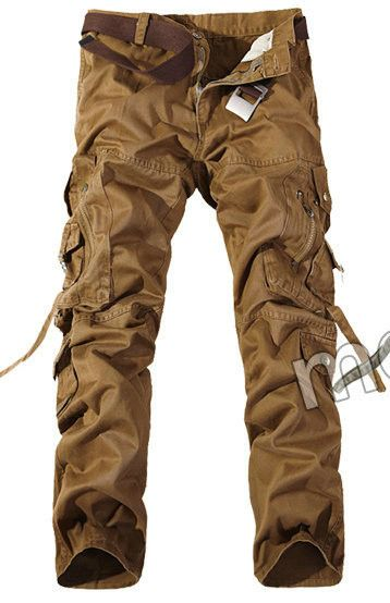 Top Fashion Multi-Pocket Solid Mens Cargo Pants Plus Size Men Trousers