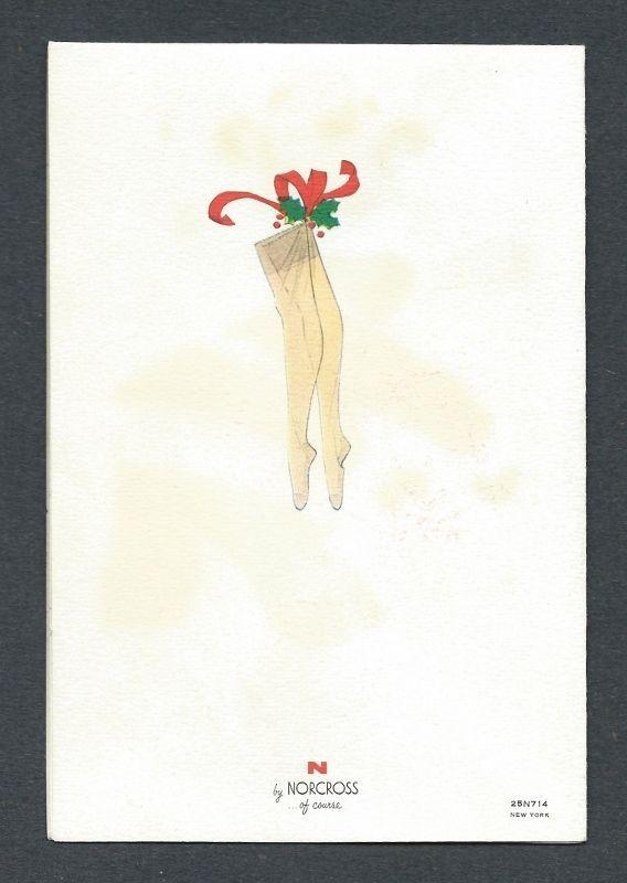 Man in Flocked SANTA Suit Fills Stocking Wife Decorates Tree Vtg Christmas Card 3 • $4.50