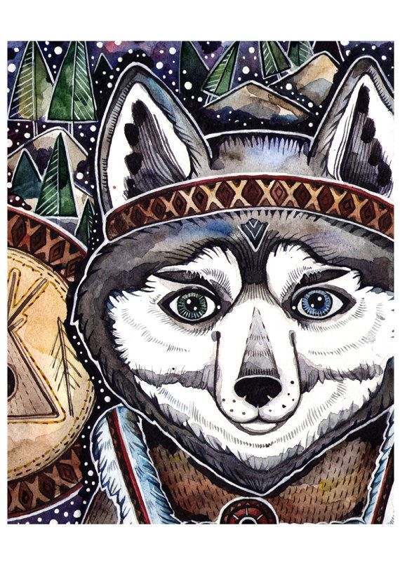 Dog Art Print Nursery Shaman Boho Print Art от LullabyForFox