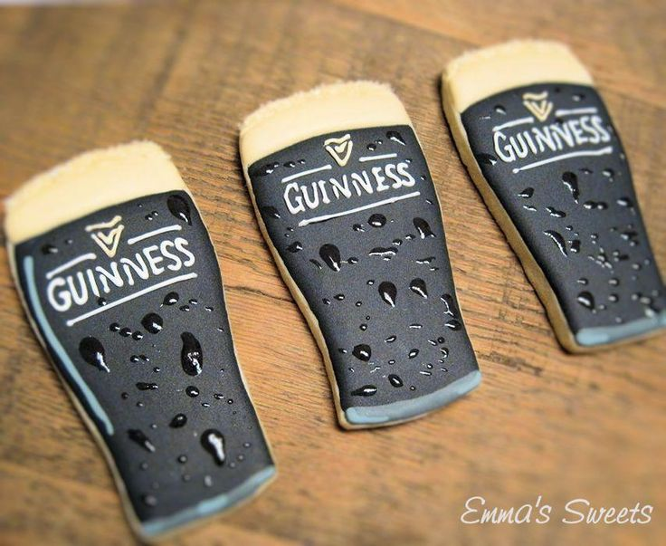Guiness cookies | Cookie Connection - I like the idea of using piping gel as condensation.
