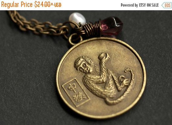 VALENTINE SALE Monkey Chinese Zodiac Necklace. Chinese Astrology Necklace. Asian Horoscope Necklace. Monkey Necklace. Chinese Necklace. Shēn by TheTeardropShop from The Teardrop Shop. Find it now at http://ift.tt/1CWSLL8!