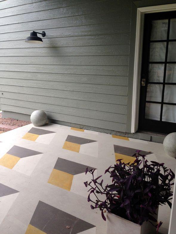 DIY Geometric Cube Painted Floor