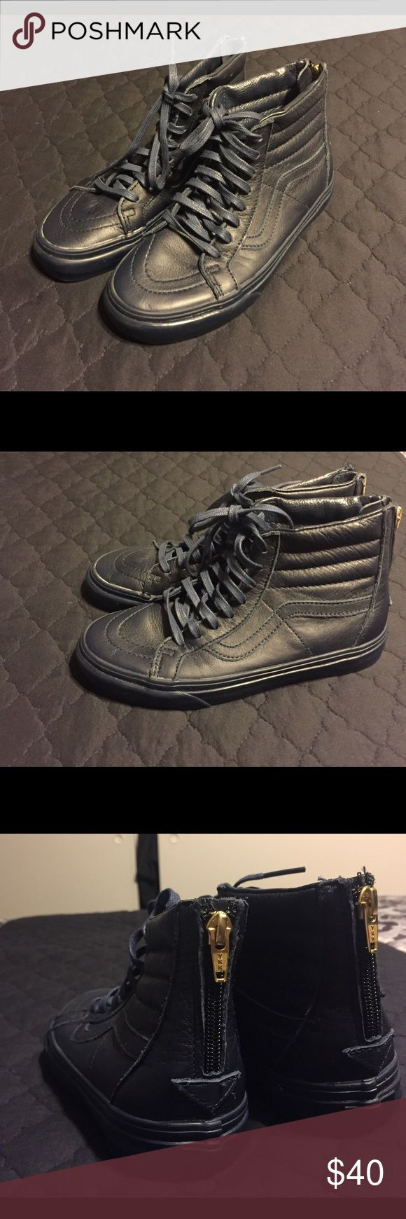 SK8-HI Vans Dark blue/navy blue all leather high top SK8 Vans with gold zipper. No box but will include a shoe bag. A bit of wear due to being stored with other shoes but never been worn. 4.5 in men, 6 in women. Original laces, very low price and in great overall condition! Willing to negotiate price! Vans Shoes Sneakers