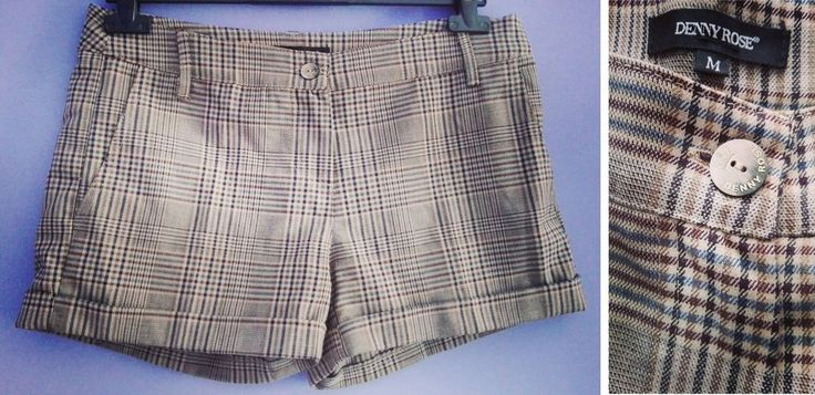 SHORT  DENNY ROSE  M 42 SCOZZESE TARTAN MARRONE BEIGE MADE IN ITALY PANTALONCINI
