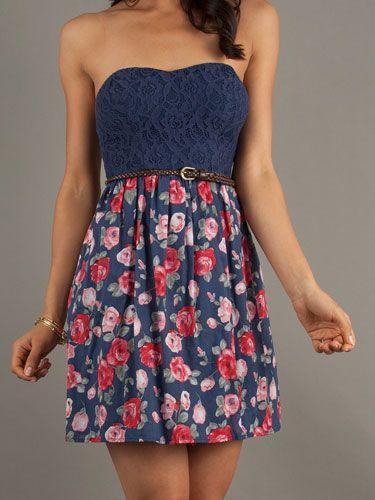 Short Strapless Casual Print Dress, $49