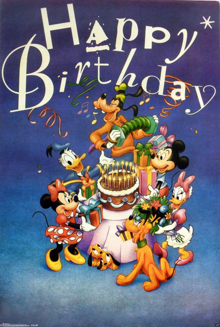 """Disney """"Happy Birthday"""" Poster Goofy Mickey Minnie Mouse Donald Daisy Duck   eBay"""