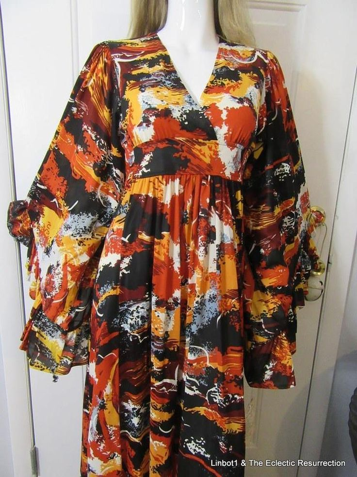 Vintage 70s Hippie Goddess Maxi Dress New With Tags Size M/L Big Bell Sleeves #EmpireWaist