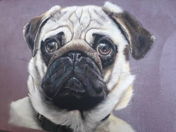 Original Pug Pastel Painting On Pastelmat Painting Pugs Pastel