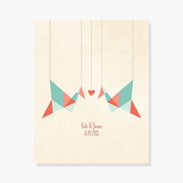 Monogrammed bridal shower gift - Origami Birds Paper Cranes Personalized Print