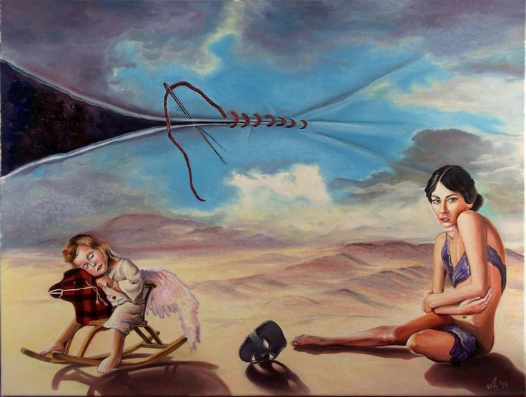 Sew my skies - oil on canvas - huiles sur toile 60 x 80 cm 2014 dida_lupan@yahoo.com #oil #canvas #traditional #painting #surreal #child #childhood #memory #desert