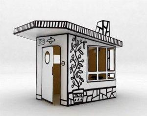 Cabane VILLA JULIA - Designer : Javier Mariscal - Mini maison en carton, à customiser entièrement ; une superbe zone d'expression et de personnalisation pour la rendre unique et au goût de vos enfants.