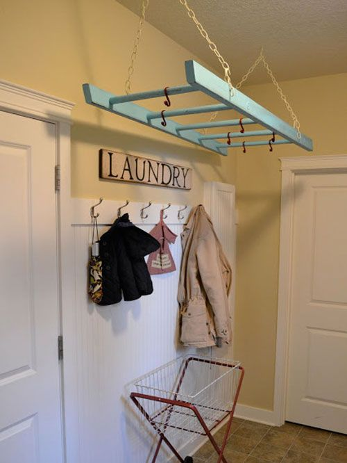 Laundry Room Ideas: Repurpose an old ladder for use as a hanging clothes rack.