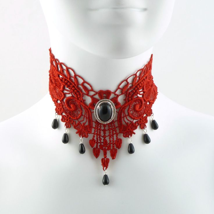 Red Lace Choker Gothic Victorian Choker Necklace with Black Onyx Stone and Silver Setting - Glass Teardrop Beads - Goth Chocker Vampire. $42.00, via Etsy. Great for French dresses as http://wardrobeshop.com/content/139-chiffon-french-doll-redsilver-dress