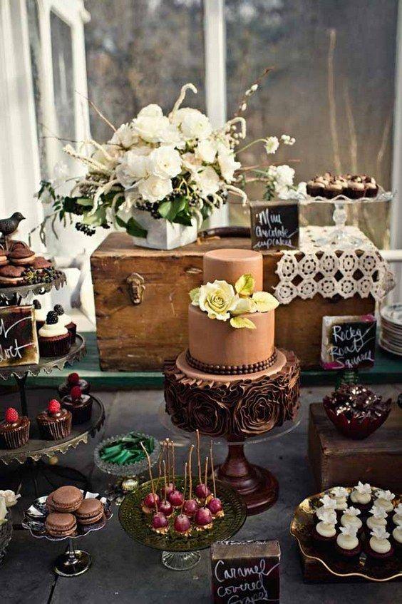 brown wedding dessert table ideas / http://www.himisspuff.com/wedding-dessert-tables-displays/2/