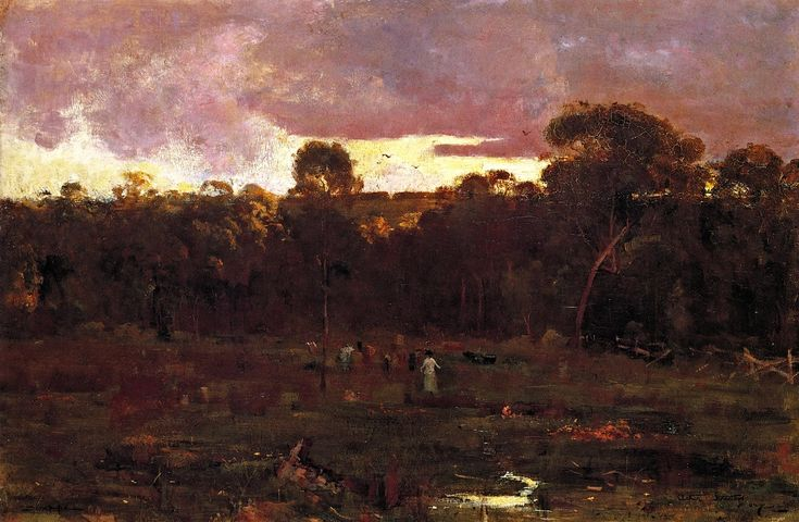 June Evening, Box Hill Sir Arthur Streeton (1887) Queensland Art Gallery Painting - oil on canvas Uploaded Sunday, 30 October 2011 by member rocsdad Public domain