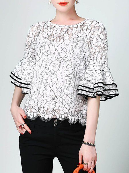 Shop Blouses - White Bell Sleeve H-line Floral Guipure Blouse online. Discover unique designers fashion at StyleWe.com.