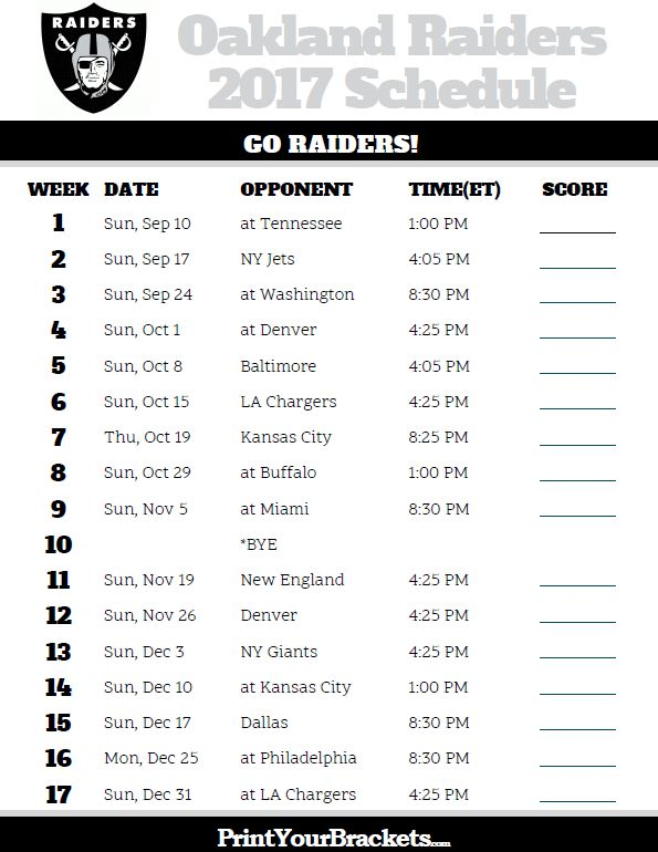 2017 Oakland Raiders Football Schedule