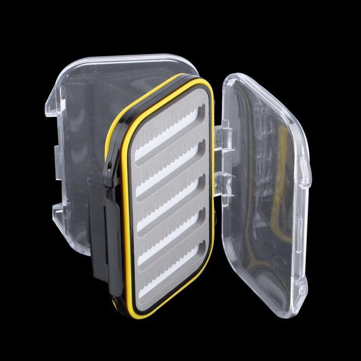 4.3x2.75x1.2 Plastica di pesca a mosca Impermeabile Double Side Trasparente Schiuma fessura mosca Casella di Pesca A MOSCA SCATOLA di Affrontare Scatola di Caso di trasporto libero