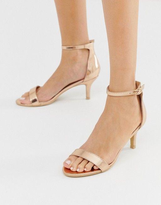 b00edae5456 Glamorous rose gold kitten heel sandals in 2019
