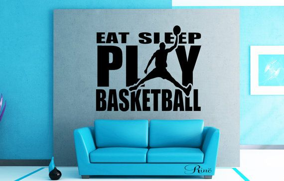 Eat sleep play BASKETBALL Wall art vinyl Decal by FunnyAndSticky