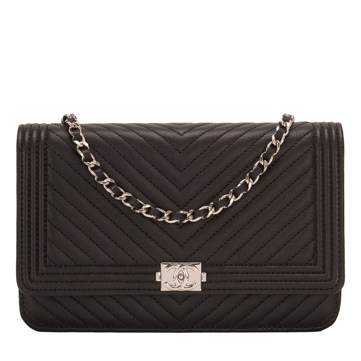 Chanel chevron quilted Boy Wallet on Chain (WOC) of black lambskin leather with silver tone hardware. AVAILABLE NOW For purchase inquiries, Please Contact: Email: info@madisonavenuecouture.com I Call (212) 207-4572 I WhatsApp (917) 391-2281 Direct Message on Instagram: @madisonavenuecouture Guaranteed 100% Authentic | Worldwide Shipping | Bank Transfer or Credit Card