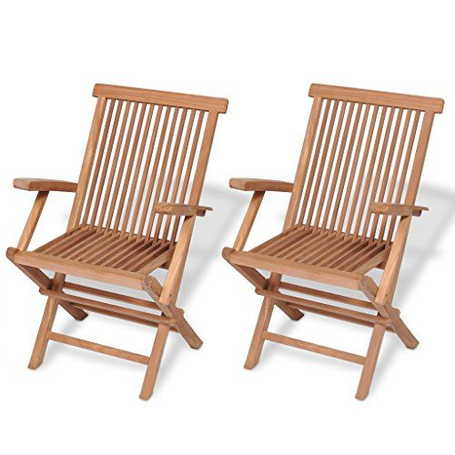 Festnight Set Of 2 Teak Wood Folding Dining Chairs With Arm Rest Outdoor Patio Garden Yard