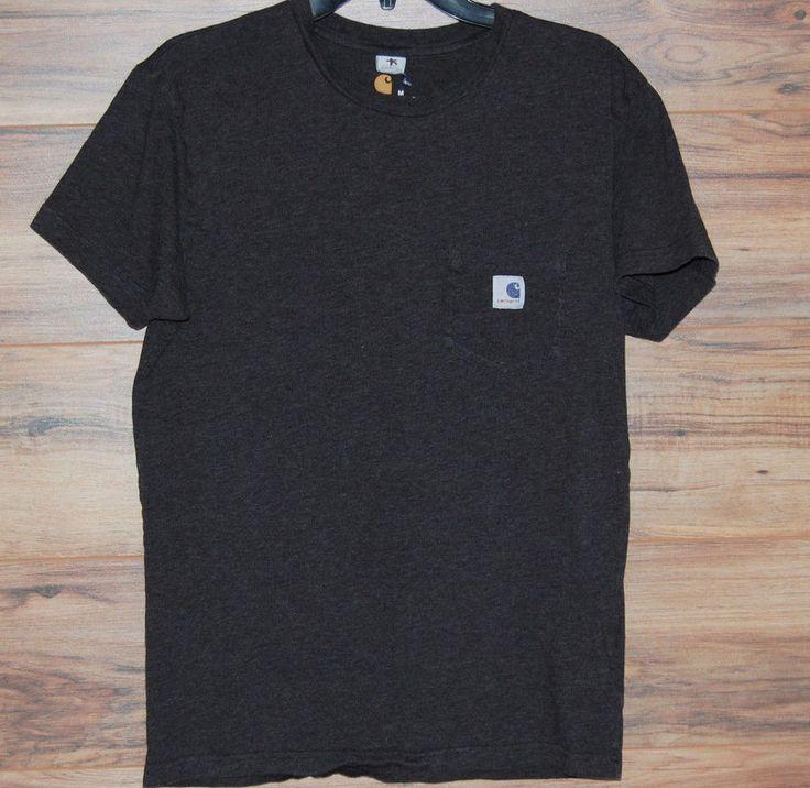 Carhartt T Shirt Solid Pocket Work Dark Gray Mens Size Medium  #Carhartt #BasicTee