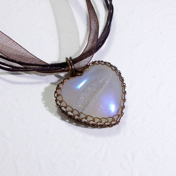 Agate Druzy Heart Pendant Necklace Wire Wrapped by AnnaWireJewelry, $33.00