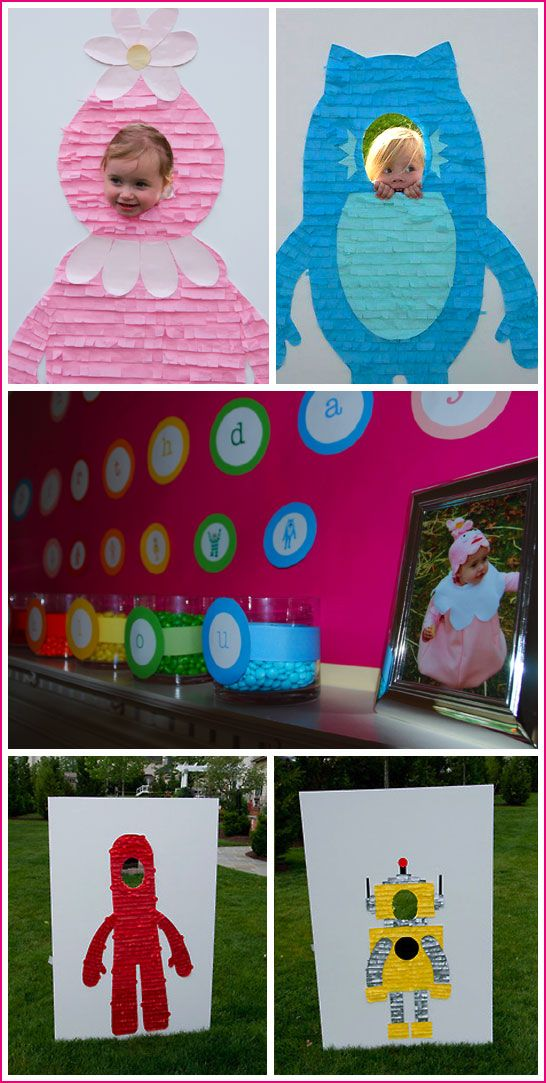 Such a great idea-use sheets of cardboard to make homemade picture props. Cover the cardboard with plaster board paper, and then decorate a silly caracter in the theme of your choice!  Make sure to do them pretty small if the guests are small! Also the cut out circle banner of letters in the middle pic is cool to stick to centerpieces