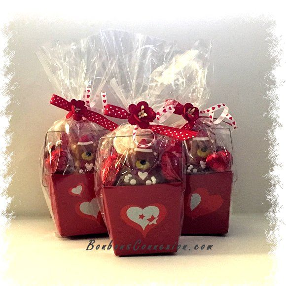 Petits paniers cadeaux remplient de bonbons et chocolats de la Saint-Valentin. Small gift baskets filled with Valentine candies and chocolates. YUMMY!!!