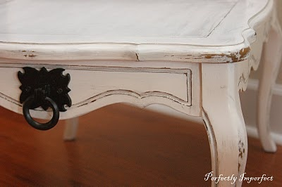 White Aged and Distressed Tables - using a Wagner sprayer - @PerfectlyImperfectBlog.com.  Beautiful job, Shaunna!  We love your work!
