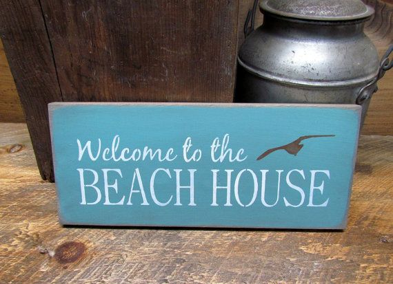 Welcome To The Beach House, Beach House Decor, Wooden Signs, Shabby Chic Beach Sign, Seaside Beach Cottage, Beach say