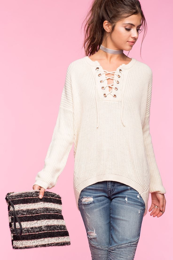 Women's Sweaters | Cozy Lace Up Sweater | A'GACI