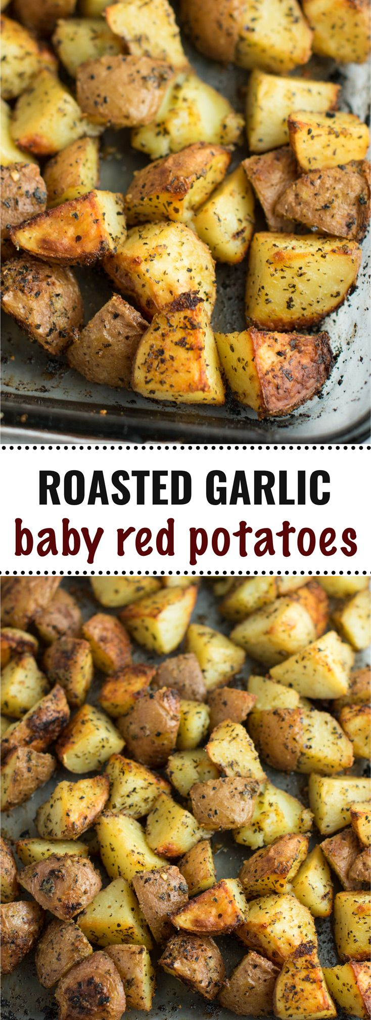These roasted garlic baby red potatoes are and easy and delicious side dish! #babyredpotatoes #vegan #roastedpotatoes