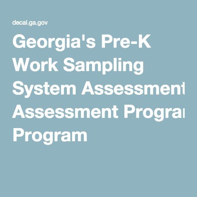 Georgia's Pre-K Work Sampling System Assessment Program
