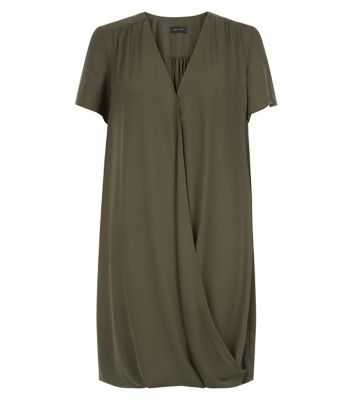 Khaki Wrap Front Drape Dress