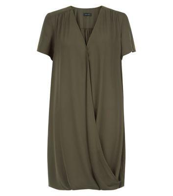 Khaki Wrap Front Drape Dress