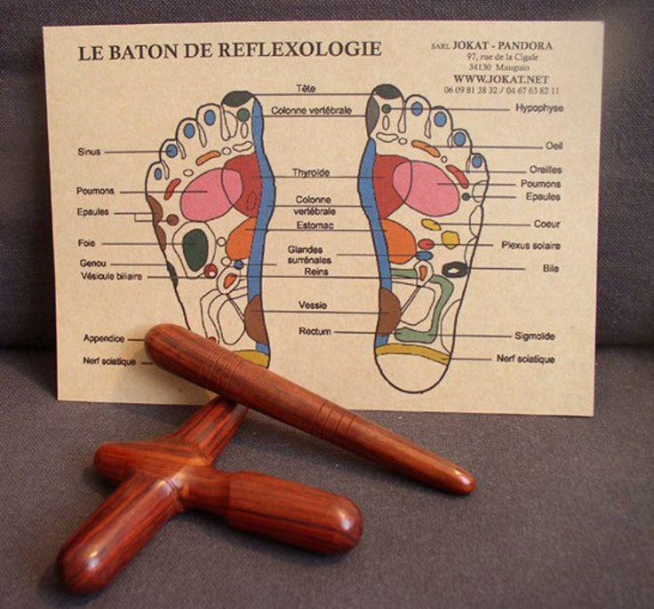 Kit rélexologie pieds en bois de rose : bâton et té #réflexologie #massage
