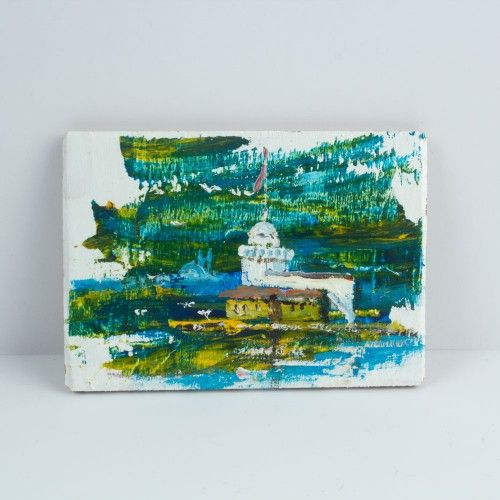 The Painting Magnet Of Maiden's Tower 14 $ / %100 Handmade By Cosanon Art