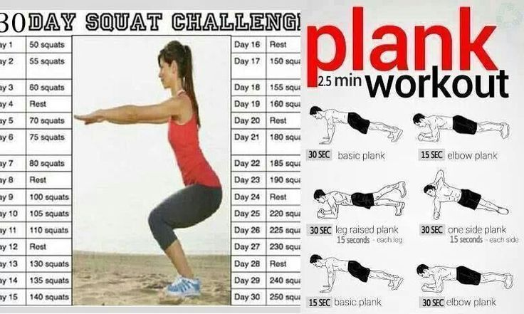 Plank workout, Squat challenge and Squats on Pinterest