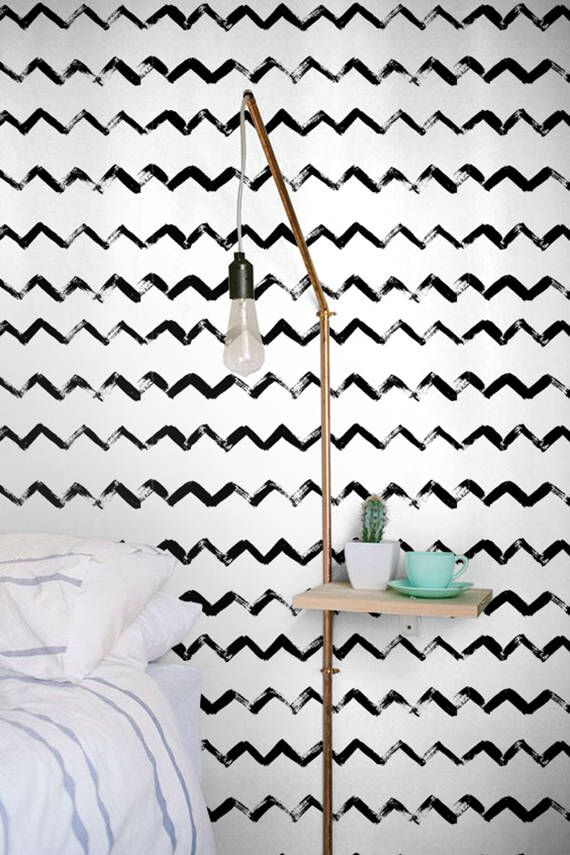 Monochrome Wallpaper, Black & White wall sticker, ZigZag pattern, BW021 by BohoWalls on Etsy https://www.etsy.com/uk/listing/280613270/monochrome-wallpaper-black-white-wall