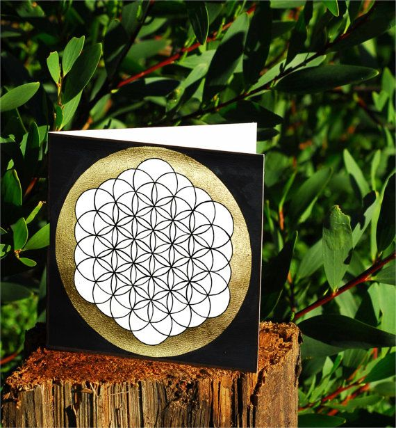 Flower of life Card: Sacred Geometry ink and gold leaf painting greeting card. A symbol related to music, cell division, energy systems on Etsy, $5.00 AUD