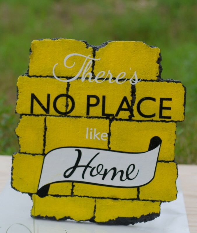 There's No Place Like Home-Typography Sign, Bricks are Hand-carved from Styrofoam to Look Like a Chunk of the Yellow Brick Road by UndercoverKangaroo on Etsy https://www.etsy.com/listing/205014443/theres-no-place-like-home-typography