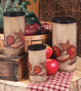 apple decorations for country kitchen | Country Home Accessories Apple Themed - Apple Berry Canister Set.