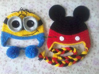 Néia, artes e cia: Toucas Minions e Mickey - Crochê