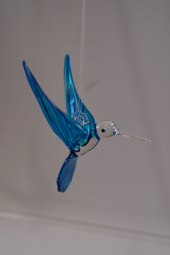 Large Hand Blown Glass Hummingbird by glassmanbilly on Etsy, $15.00