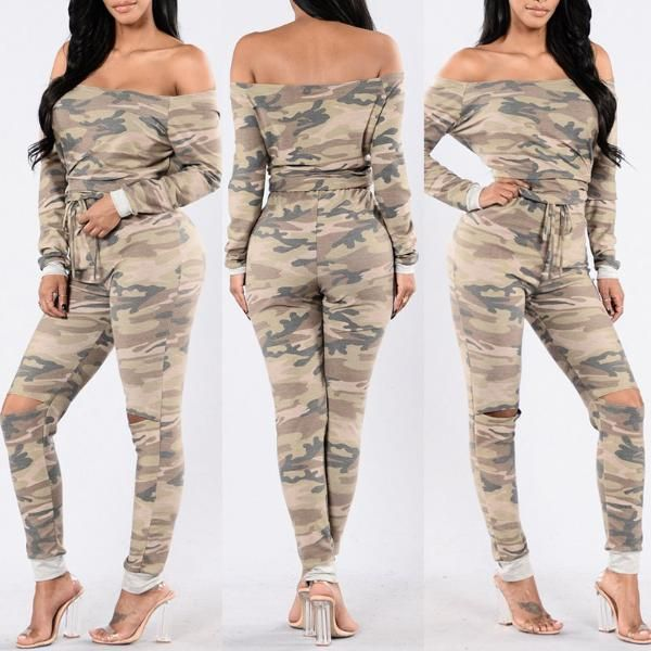 Sexy Women Off Shoulder Camouflage Jumpsuit