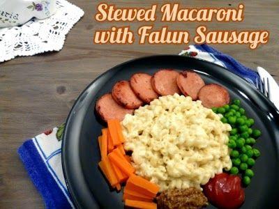Stuvade Makaroner med Falukorv ( Stewed macaroni with Falun Sausage ) ^_^