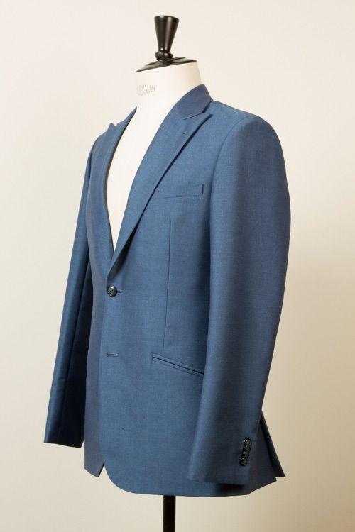 Classic English Mohairs Grey Blue Solid Holland  Sherry suit handmade classic British style Classic English Mohairs pak (voor trouwen bruiloft) grijs blauw handgemaakt Brits Engelse stijl