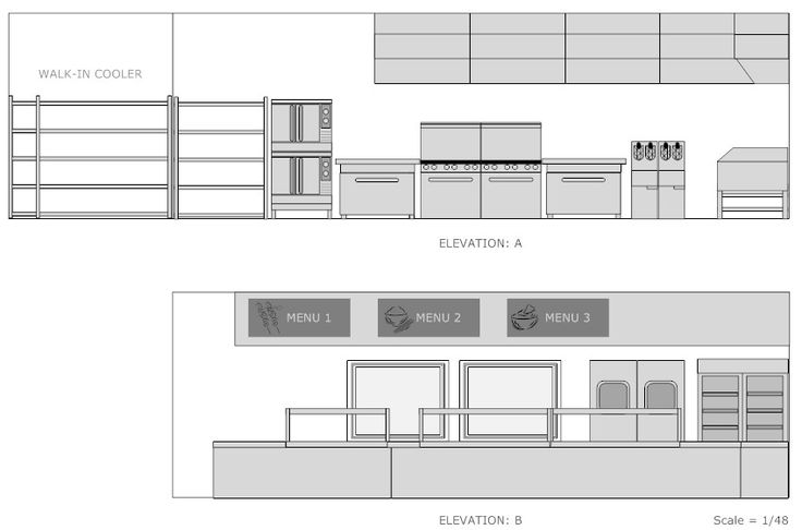 Cooking school plan elevation google search studio 3 2 for Restaurant design software